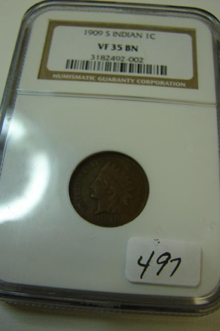 4: 1909 S Indian Cent NGC VF35 BN
