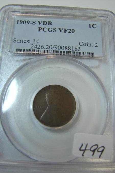 5: 1909-S VDB Lincoln Cent PCGS VF20