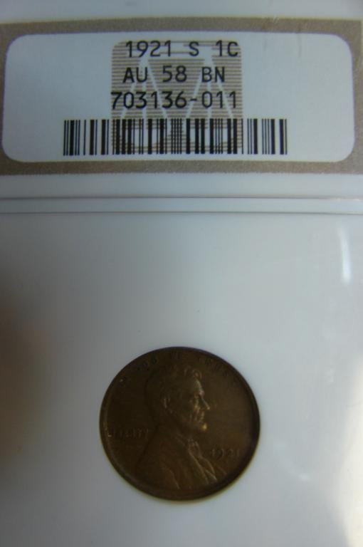 10: 1921 S Lincoln Cent NGC AU 58 BN