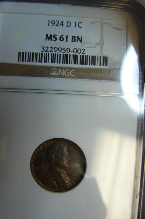 11: 1924 D Lincoln Cent NGC MS 61 BN