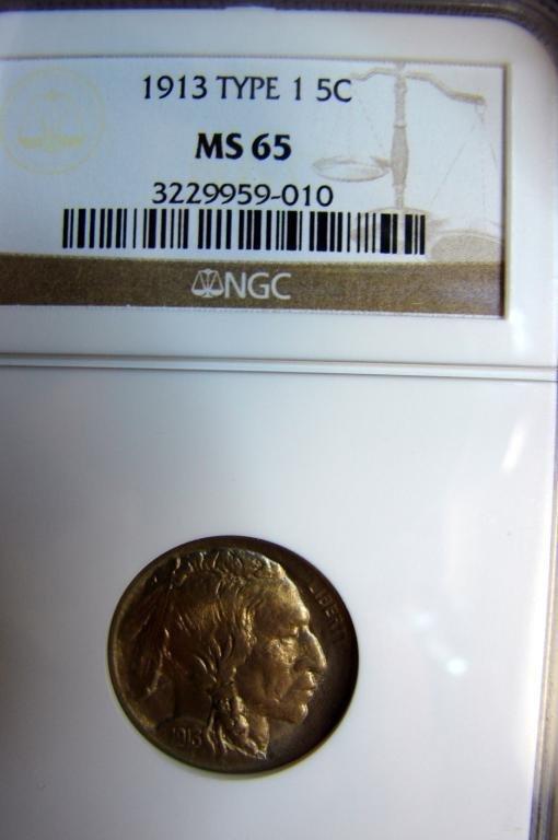 17: 1913 Type I Buffalo Nickel NGC MS 65