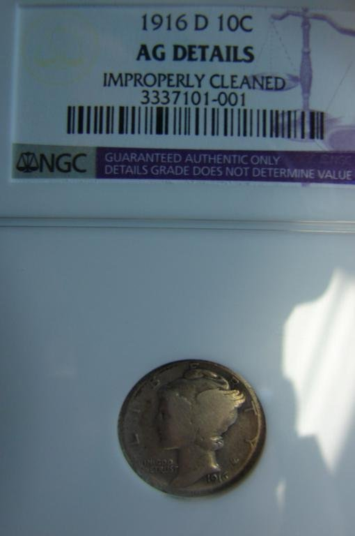 24: 1916-D Mercury Dime NGC AG Details
