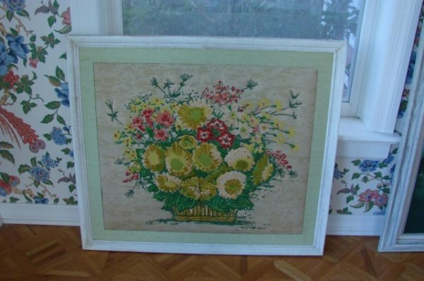 17: Framed Fabric Art Basket of Flowers with Clock