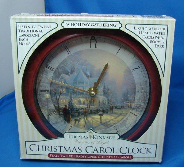 1: Thomas Kinkade Clock 12 Christmas Carols