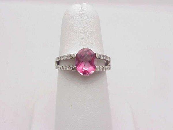 12: Lady's 14kwg pink topaz/diamond ring