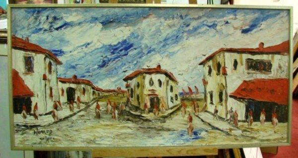 22: Original Oil Painting Water Coastal Town