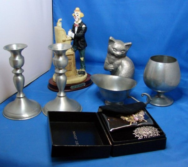 4: Lot of Pewter incl. cat, candlesticks, pitcher