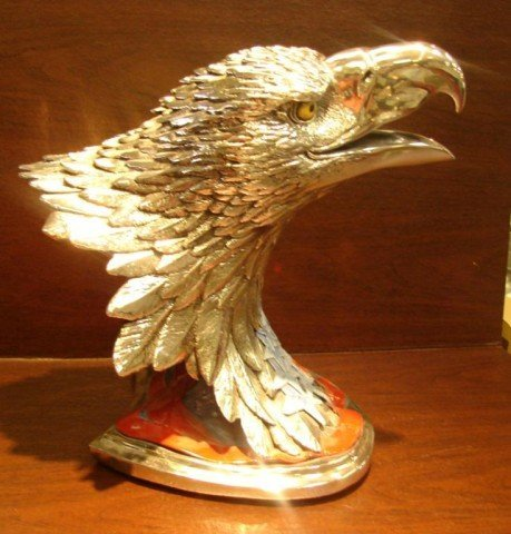 18: Plata Artistica Sterling Coated Eagle Sculpture