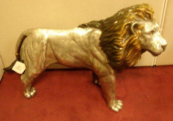 62: Plata Artistica Sterling Coated Lion Sculpture