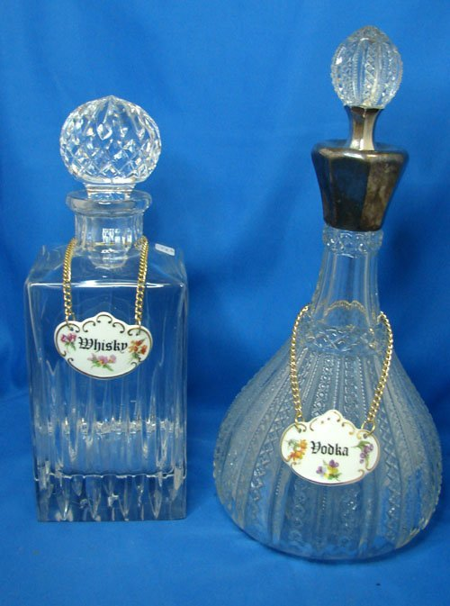 2: Lot of 2 Decanters with ceramic markers
