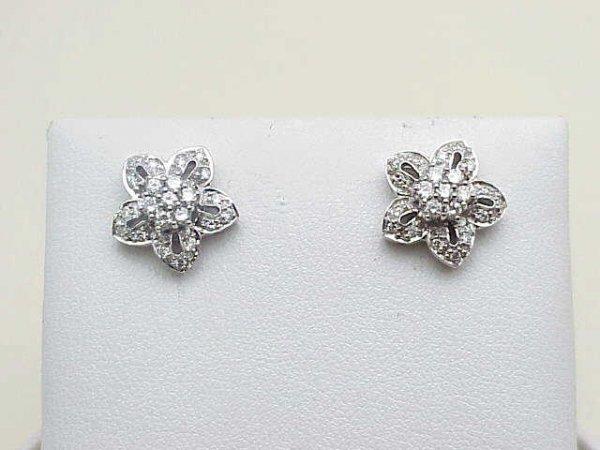12: Lady's 14kwg floral diamond earrings