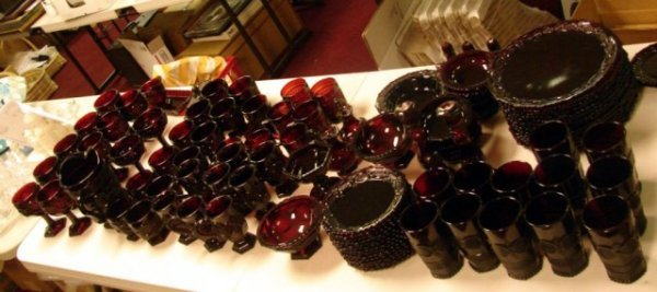 23: 100 pcs. Ruby Red Cape Cod Dinnerware by Avon