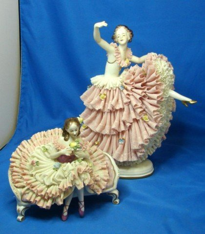 24: Two Vintage Dresden figurines - Dancers