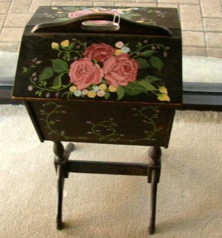 225 Vintage Sewing Box With Hand Painted Cover