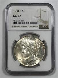 1934-S Peace Silver $1 Dollar NGC MS62