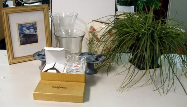 4: Neiman Marcus Candle holders, 2 glass vases ++