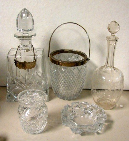 11: Crystal Lot: Waterford Jar, 2 Decanters, baskets++