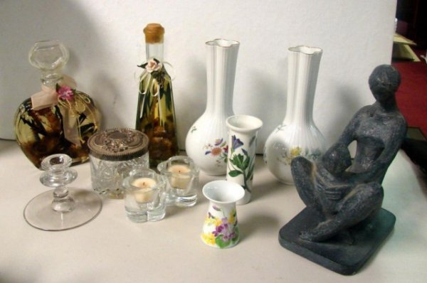 12: Box lot of Porcelain & Glass Items