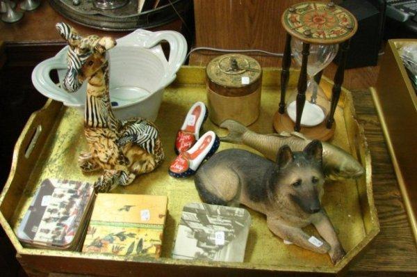 13: Lot: Wood Tray, Egg Timer, Giraffe, Coasters