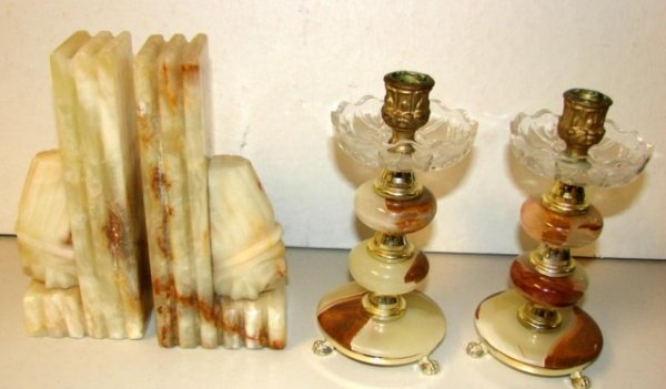 18: Marble Indian Head Bookends & Candleholders