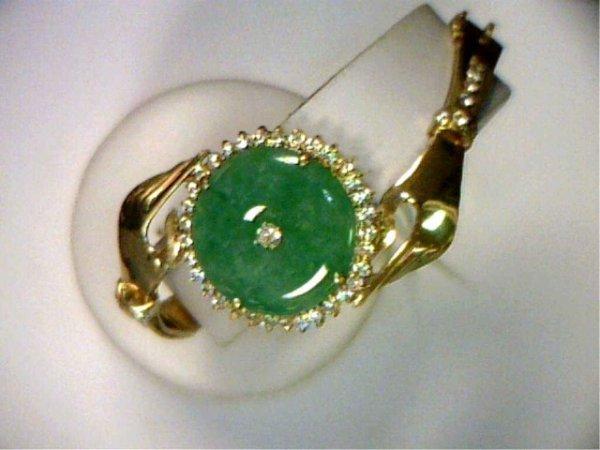 19: Lady's 14kyg jade/diamond bracelet 1.50ctw