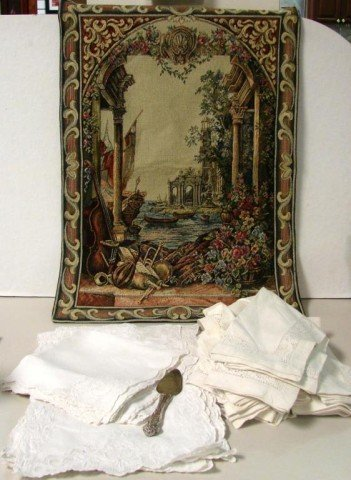 """23: Tapestry Wall Hanging 26"""" and Lot of Napkins"""