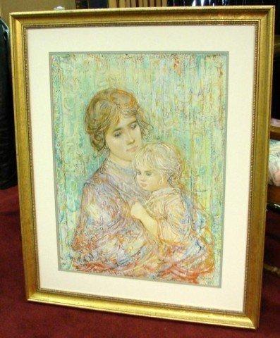 6: Edna Hibel Mother & Child Framed under Glass