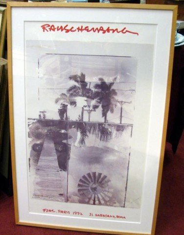145: Framed Rauschenberg Signed Poster Paris 1992