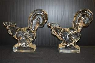 Pair of Steuben Crystal Roosters