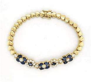 18kt yellow gold sapphire and diamond bracelet