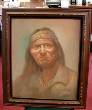 Framed Original Oil American Indian signed Raymond