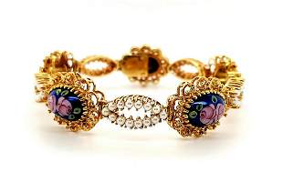 18kt yellow gold enamel and pearl bracelet