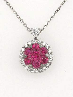 14kt white gold ruby and diamond cluster pendant