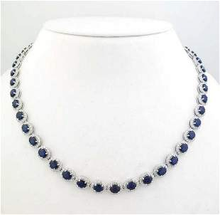 14kt white gold sapphire and diamond necklace