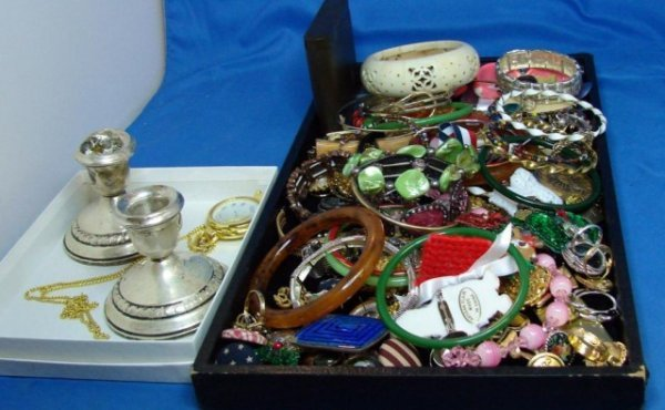 12: Huge Lot Costume Jewelry & sterling candlesticks