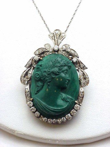 67: Lady's 14kwg malachite cameo/diamond pendant
