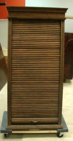 224: Antique Oak Cabinet for Railroad Ticket Sales