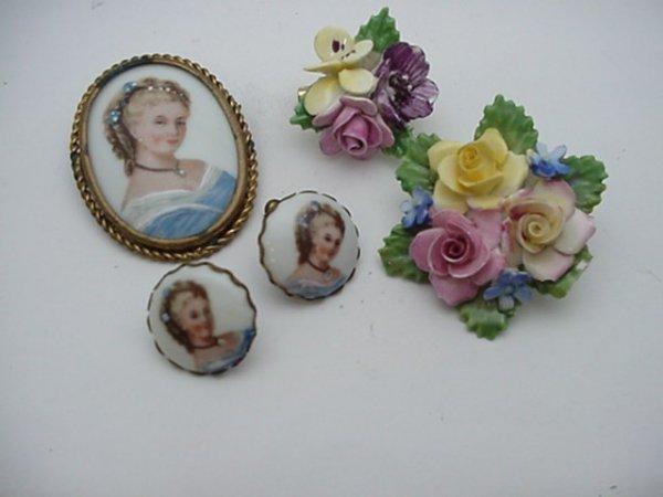 5: Limoge portrait pin/pendant, 2 Adderley pins