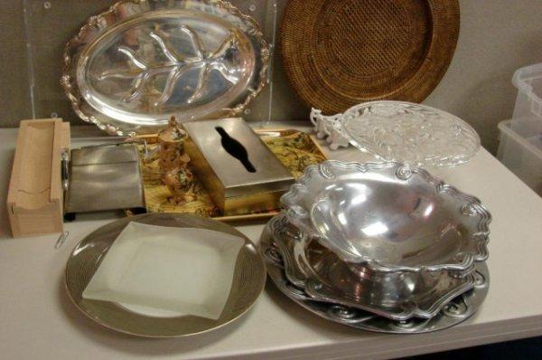 13: Huge Lot: Cake plate, serving trays, Mariposa+++