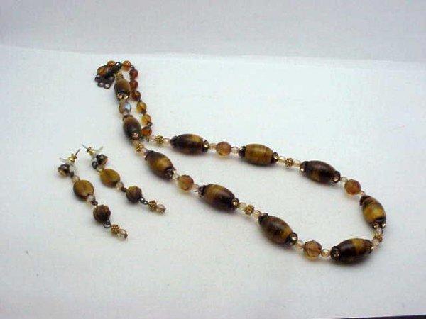 15: Swarovski tiger eye necklace/earrings