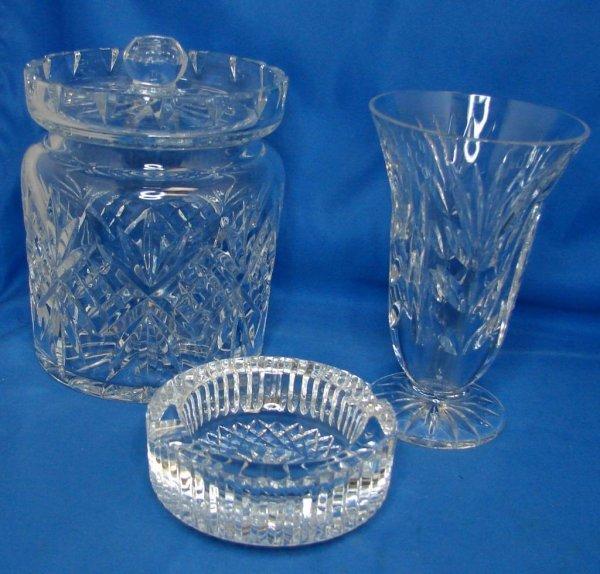 8A: Waterford Lismore Biscuit Jar, Vase & Ashtray