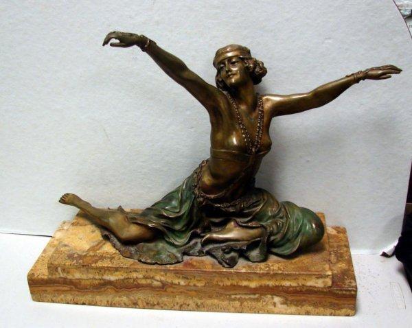 10A: C. R. Colinet Signed Bronze Theban Dancer