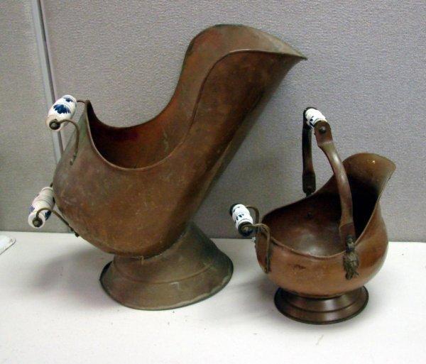 9A: 2 Vintage Copper Coal Scuttles Delft Handles