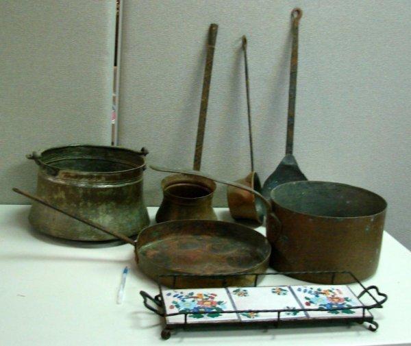 9B: 6 pcs. Vintage Copper Pots & Spoons + Iron Trivet