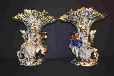 Pair of Late 18th Century Old Paris Vases