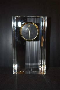 Movado Clear Crystal Half Round Mantle Clock