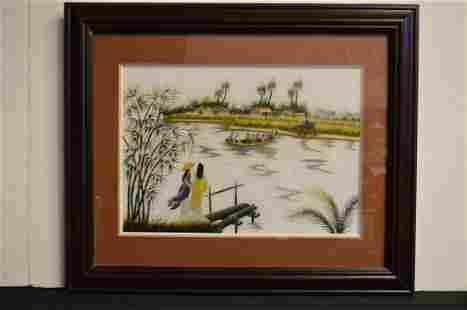 Framed Embroidery Asian Inspired Original Scene