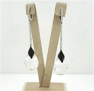 18kt white gold crystal drop earrings by Doves