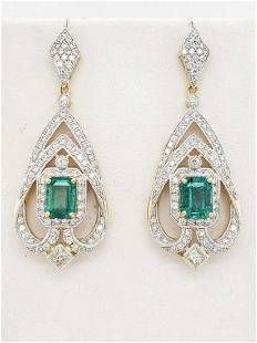 18kt yellow gold emerald and diamond earrings