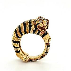 18kt yellow gold enamel tiger ring